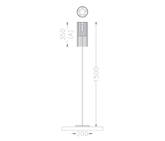 Circular Cropped 150 Standing Lamp by Willowlamp | General lighting