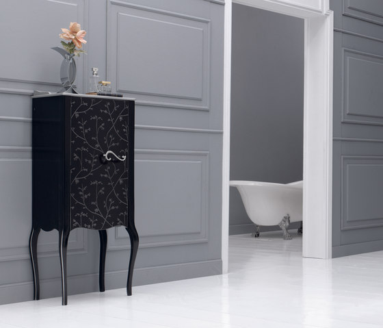 Vivaldi Flowers Black by FIORA | Wall cabinets