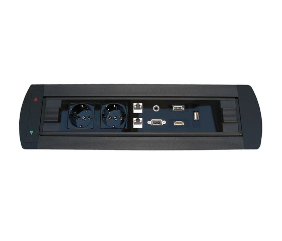 Design Line desk connector panel di KOMTECH | Prese Schuko