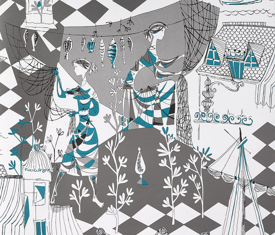 Villefranche turquesa by Gastón y Daniela | Curtain fabrics