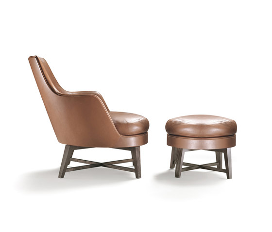 Guscio Armchair with stool by Flexform | Lounge chairs