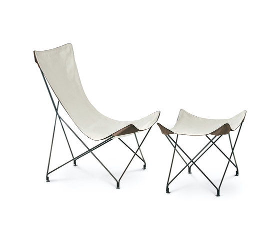 LAWRENCE 390|391 lounge chair with footstool von Roda | Gartensessel