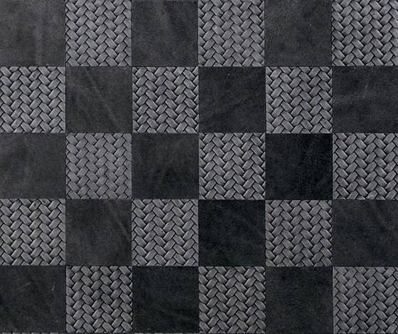 Kaleidos Mosaics black-braid-chips by Nextep Leathers | Leather tiles