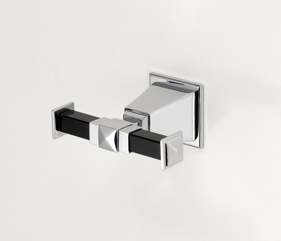 Time Black Double robe hook by Devon&Devon | Towel hooks