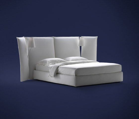 Angle With side panels smooth headboard by Flou | Double beds