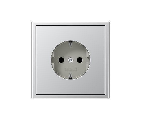 LS 990 aluminum socket by JUNG | Schuko sockets