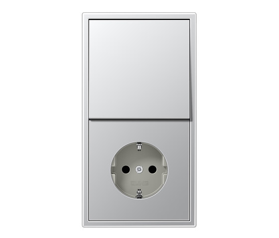 LS 990 aluminum switch-socket by JUNG | Switches with integrated sockets (Schuko)