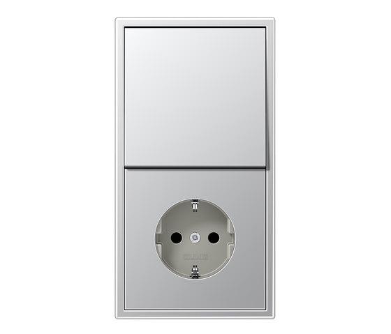 LS 990 Aluminium Schalter-Steckdosenkombination von JUNG | Stecker-Schalter Kombinationen (Schuko)