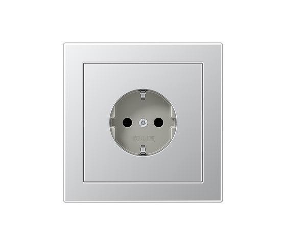 LS-design aluminum socket by JUNG | Schuko sockets