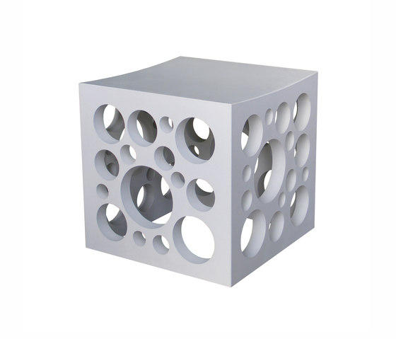 Cheese Concrete seating cube by OGGI Beton | Garden stools