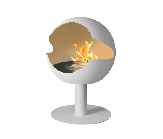Globe stand stone white by Vauni Fire | Ventless ethanol fires