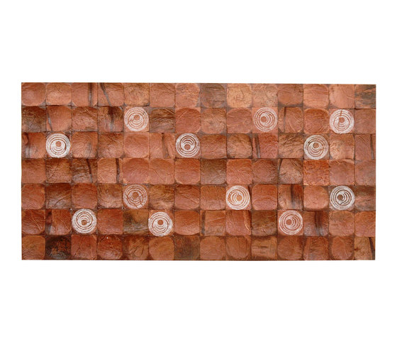 Cocomosaic tiles brown bliss with oval white stamp de Cocomosaic | Mosaïques en coco