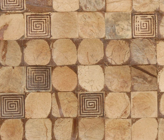 Cocomosaic tiles natural bliss with square brown stamp by Cocomosaic | Coconut mosaics