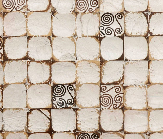Cocomosaic wall tiles white patina with spiral brown stamp by Cocomosaic | Coconut mosaics