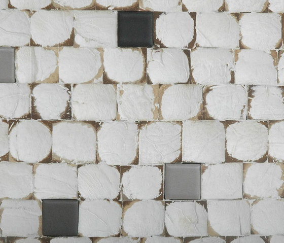 Cocomosaic all tiles white patina with ceramic mix 102 von Cocomosaic | Wandmosaike