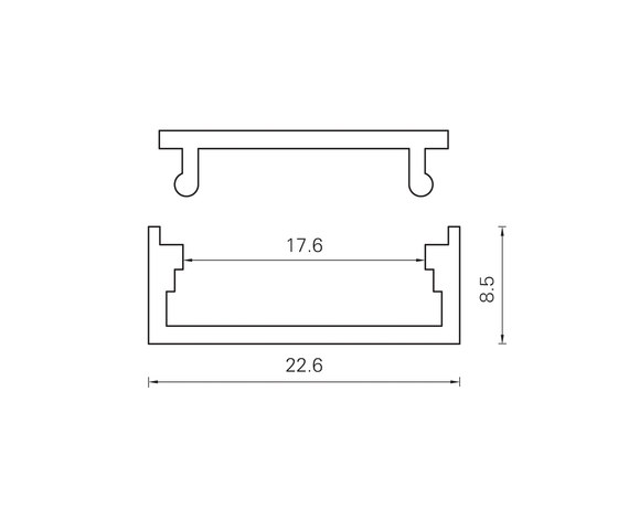 Aluminium Profiles 22.6 x 8.5 mm by UNEX | LED wall-mounted lights