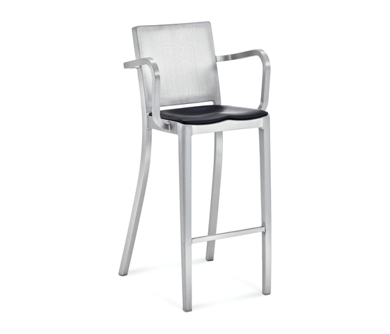 Hudson Barstool with arms seat pad by emeco | Bar stools