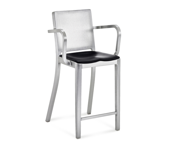 Hudson Counter stool with arms seat pad by emeco | Bar stools