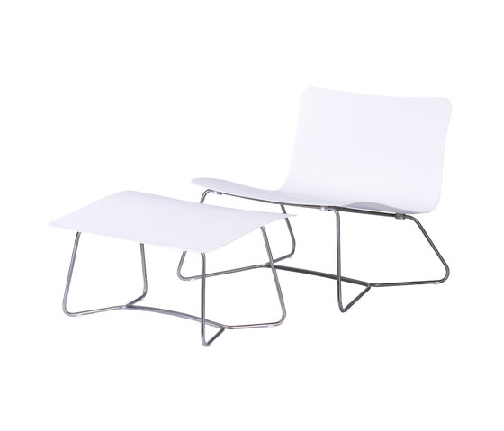 Slim Lounge Chair | Ottoman by Viteo | Garden armchairs
