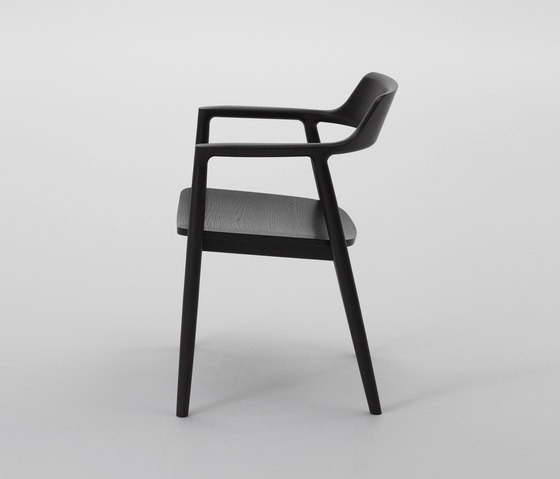 Hiroshima Arm Chair High (Wooden Seat) by MARUNI | Restaurant chairs