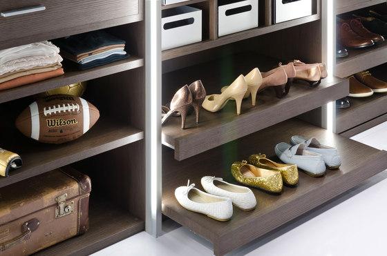 Legno interior closet storage system by raumplus | Walk-in wardrobes