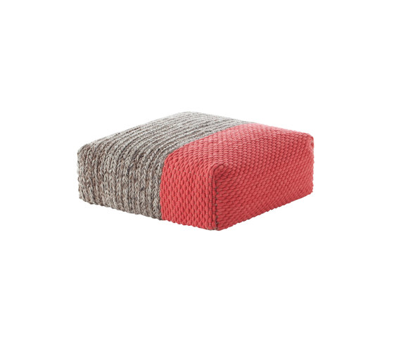 Mangas Space Pouf Square Plait Coral 2 by GAN | Poufs