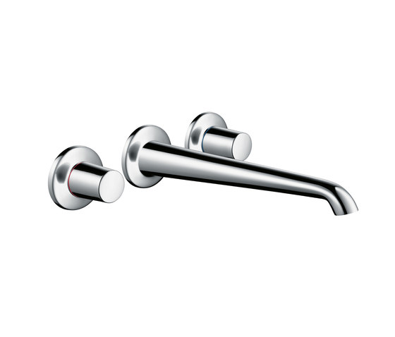 AXOR Bouroullec 3-hole basin mixer for concealed installation and wall mounting with spout 245 mm DN15 by AXOR | Wash-basin taps