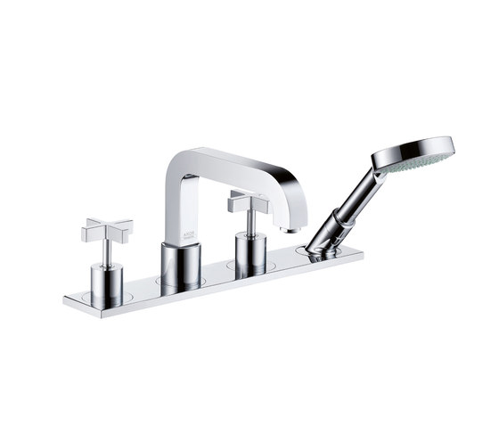 AXOR Citterio 4-Hole Tile Mounted Bath Mixer with cross handles and plate DN15 by AXOR | Bath taps