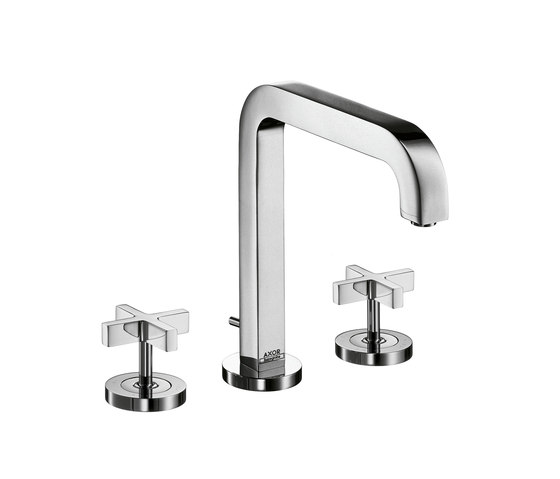 AXOR Citterio 3-Hole Basin Mixer with cross handles and spout 205mm DN15 by AXOR | Wash basin taps