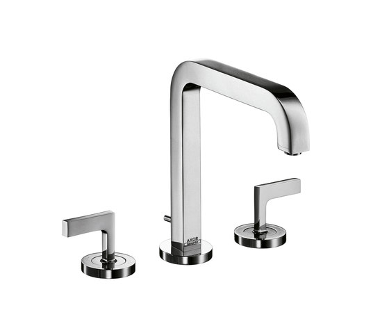 AXOR Citterio 3-Hole Basin Mixer with lever handles and spout 205mm DN15 by AXOR | Wash-basin taps
