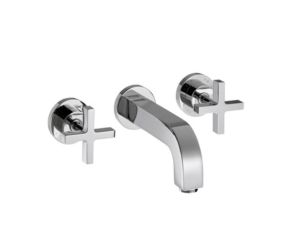 AXOR Citterio 3-Hole Basin Mixer for concealed installation with cross handles escutcheons and spout 222mm DN15 wall mounting by AXOR | Wash basin taps