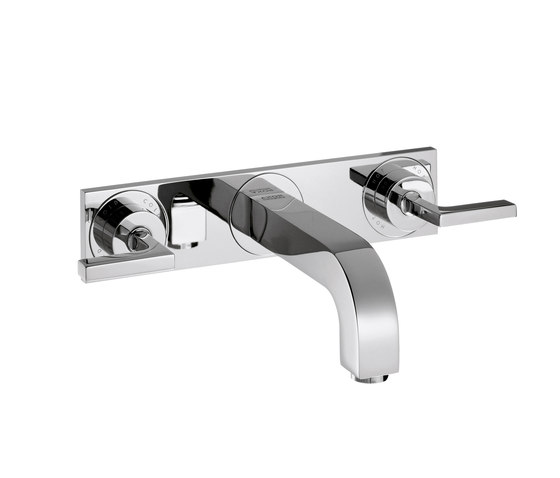 AXOR Citterio 3-Hole Basin Mixer for concealed installation with lever handles escutcheons and spout 226mm DN15 wall mounting by AXOR | Wash-basin taps