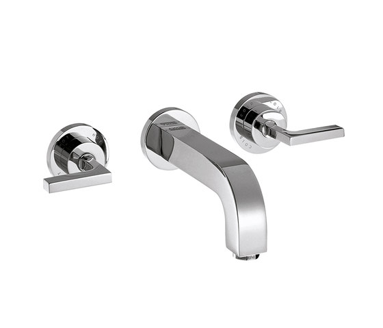 AXOR Citterio 3-Hole Basin Mixer for concealed installation with lever handles, escutcheons and spout 222mm DN15, wall mounting by AXOR | Wash basin taps
