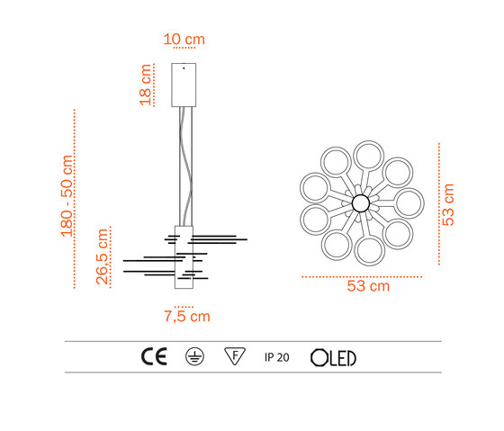3x3 MACH 9  S – OLED-pendant de Bernd Unrecht lights | Iluminación general