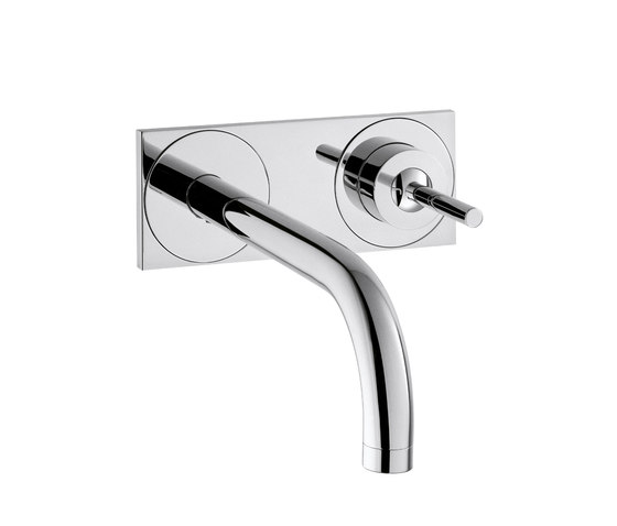 AXOR Uno Single Lever Basin Mixer for concealed installation with plate and spout 225 mm wall mounting DN15 by AXOR | Wash-basin taps