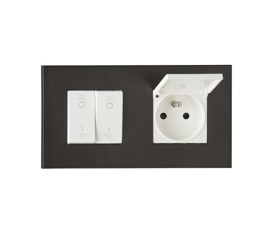 Paris BR bronze by Luxonov | Switches with integrated sockets (Schuko)