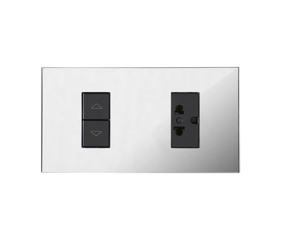 Paris CH chrome miroir by Luxonov | Switches with integrated sockets (Schuko)