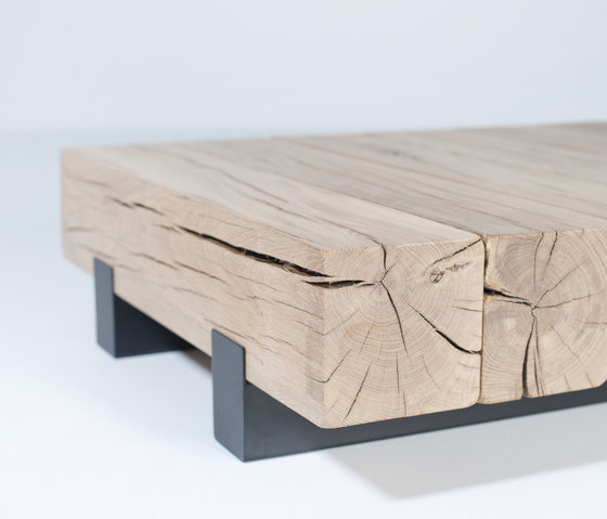 Beam by van rossum coffee table cubes coffee table for Wood beam coffee table