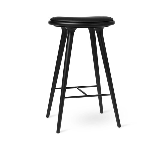 High Stool - Black Stained Beech - 74 cm by Mater | Bar stools