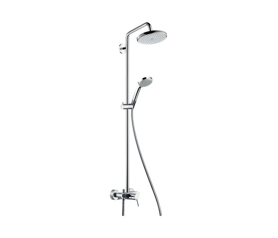 hansgrohe Croma 220 Air 1jet Showerpipe with single lever mixer by Hansgrohe   Shower controls