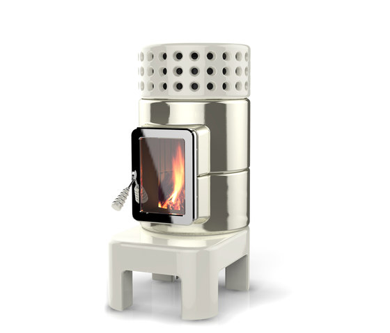 Round Stack long by La Castellamonte   Wood burning stoves