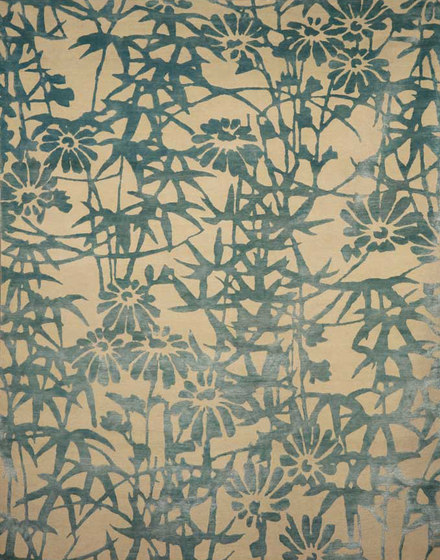 Bamboo Blossoms Blue by Emma Gardner Design | Rugs / Designer rugs