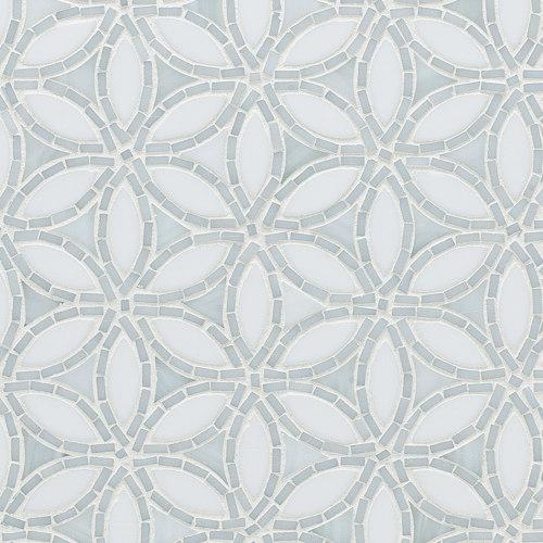 Flapper Floral Be Bop White Glass Mosaic de Artistic Tile | Mosaïques verre