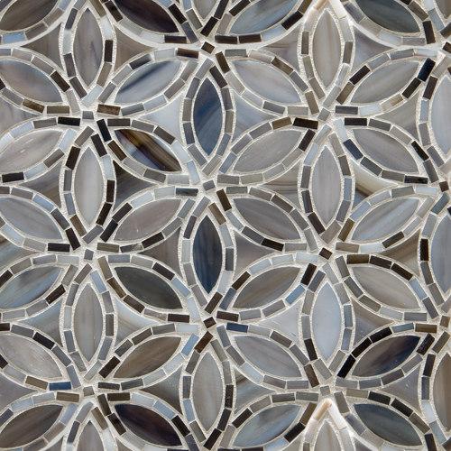 Flapper Floral Detroit Blues Glass Mosaic by Artistic Tile | Glass mosaics