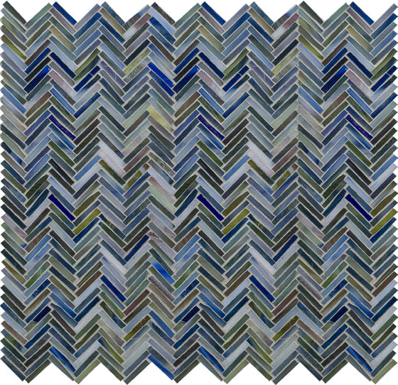 Hip Herringbone Peacock Blue Glass Mosaic by Artistic Tile | Wall mosaics