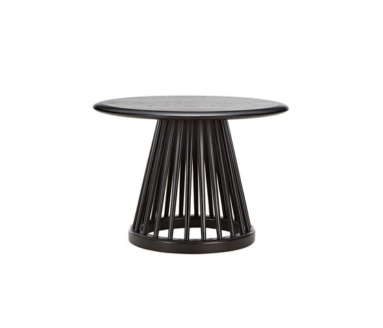 Fan Table Black Base Black Oak Top 600mm by Tom Dixon | Side tables
