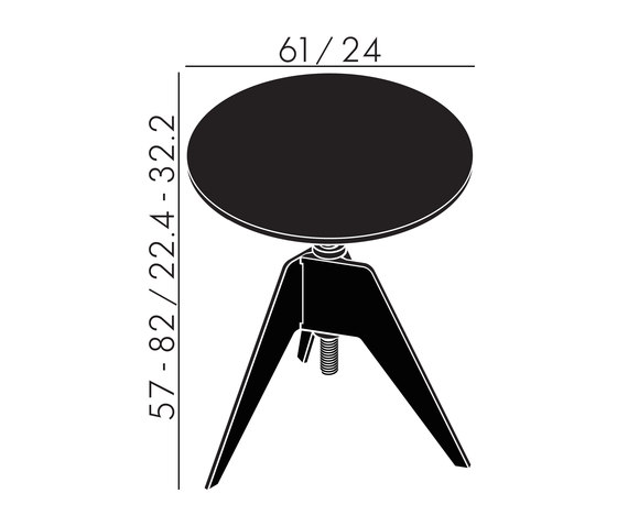 Screw Cafe Table Black Oak Top 600mm by Tom Dixon | Side tables