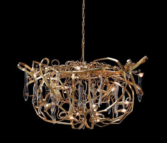 Delphinium customised gold chandelier by Brand van Egmond | Ceiling suspended chandeliers