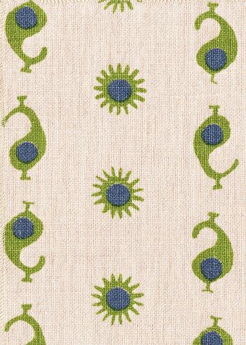 Casablanca 1 Natural/Margarita Green & Electric Blue von Kathryn M Ireland | Dekorstoffe