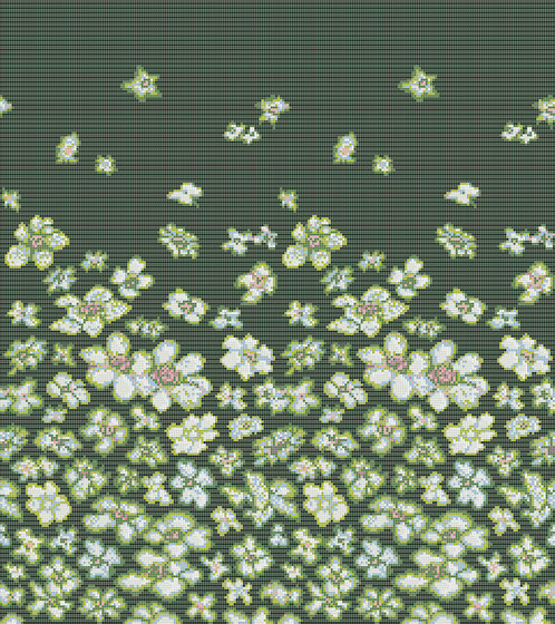 Decor Blooming | Wind Flowers Green 10x10 by Mosaico+ | Glass mosaics